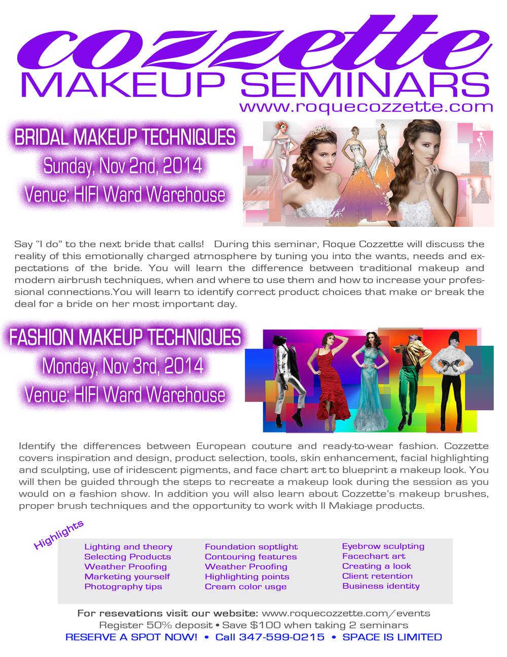 Makeup brushes, makeup seminars